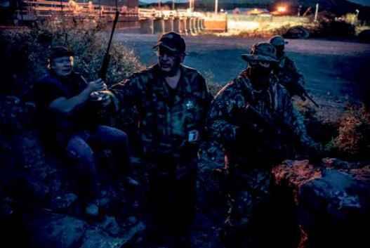 UCP spokesperson Jim Benvie with fellow vigilantes on the border.