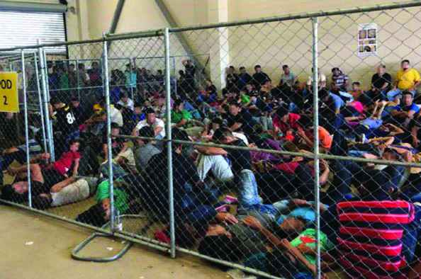 Immigration detention holding area in McCallen, TX in 2019. Overcrowding and unsafe conditions continue during the COVID-19 crisis.