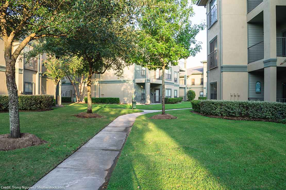 Clean lawn and tidy oak trees in front of an apartment complex