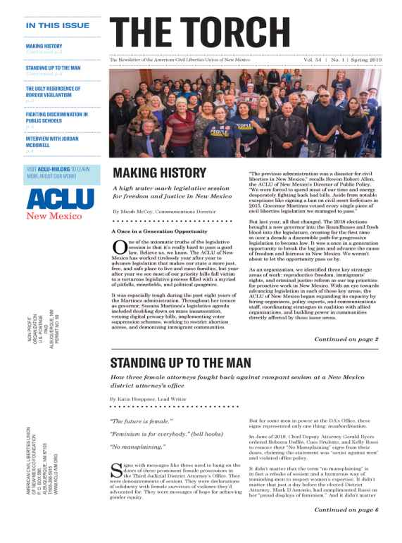 2019 Spring Torch - ACLU of New Mexico