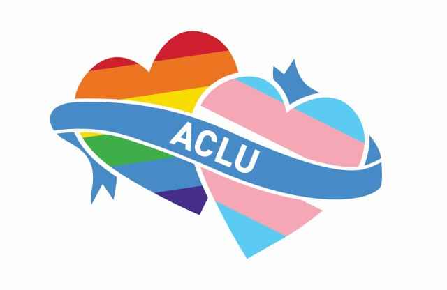 One heart with rainbow coloring and another heart alternating with pink and blue together under a blue banner that says ACLU