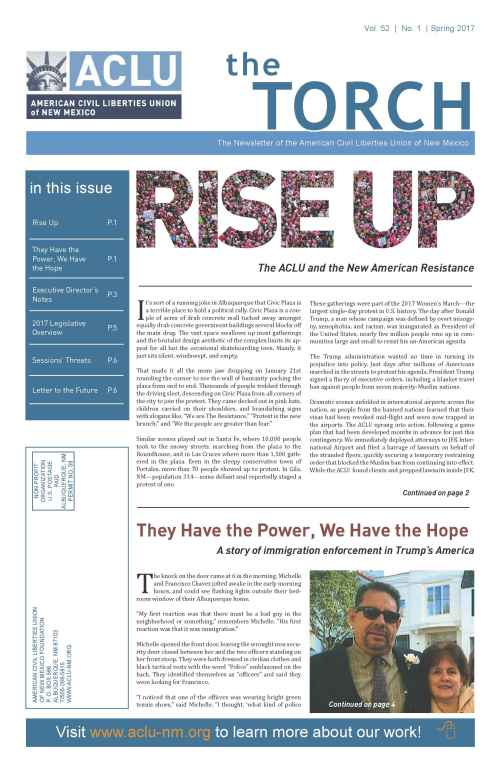 Image of page one of Spring 2017 Torch Newsletter