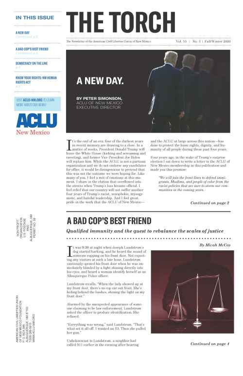 Image showing front page ofTorch Newsletter featuring a picture of Donald Trump fading away and a image of the scales of justice with a shadowy figure placing a finger on the scale.