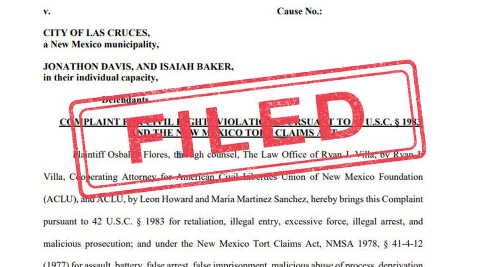 ACLU of New Mexico Sues Las Cruces Police Department for