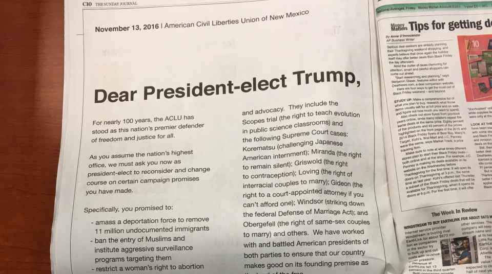 our open letter to trump | aclu of new mexico