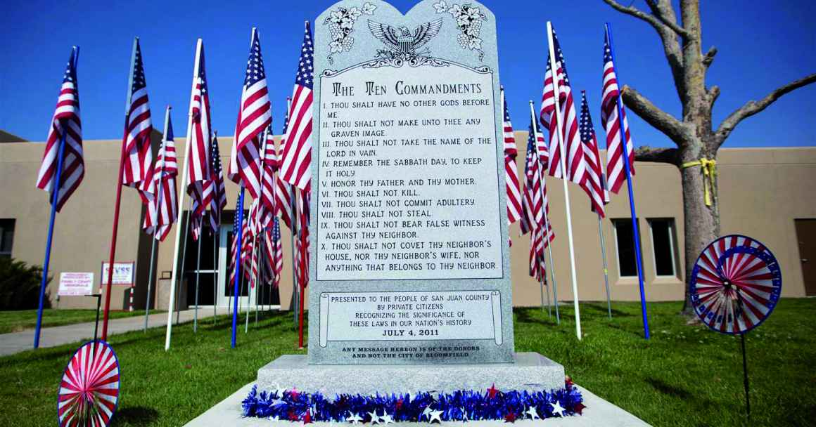Picture of the Ten Commandments monument outside Bloomfield City Hall