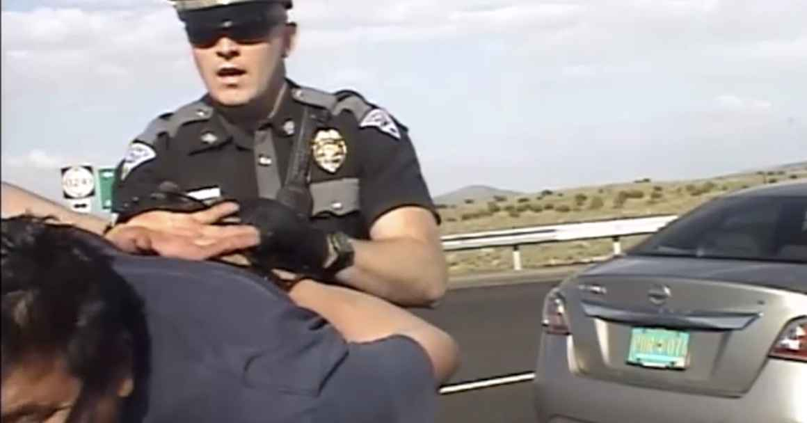 Dametrio Maldonado is slammed onto a police cruiser by a state police officer during his horrific encounter after trying to assist a crashed motorist.