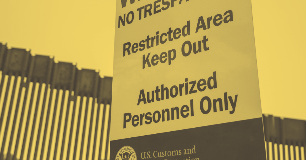 Warning no trespassing. Restricted area keep out. Authorized personnel only. U.S. Customs and Border protection sign.