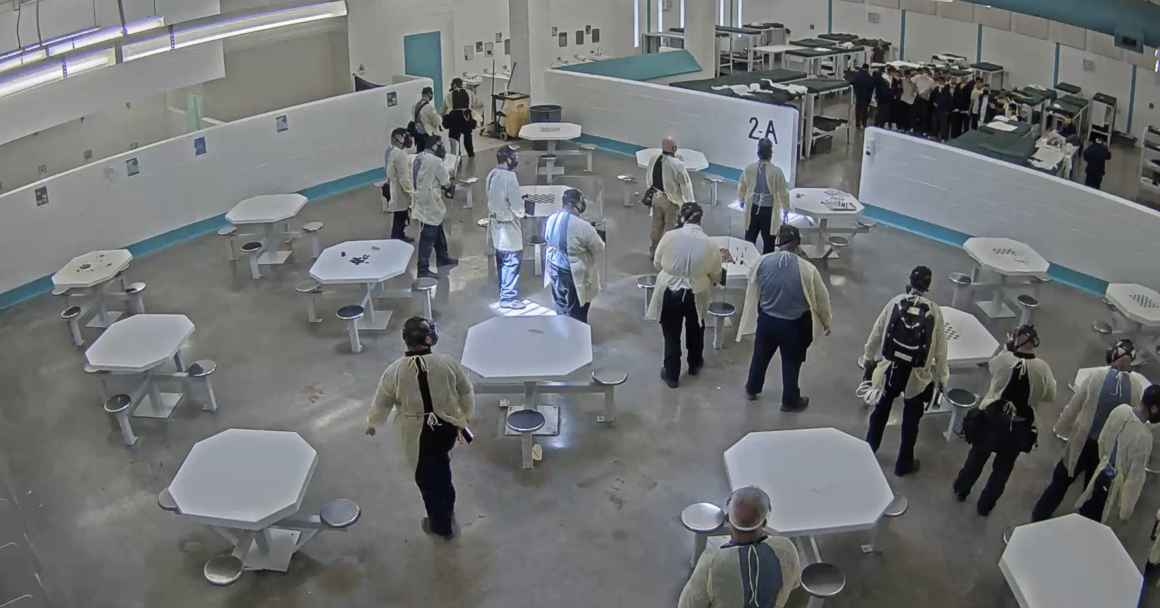 A screenshot of surveillance video taken shortly before men detained at the Torrance County were pepper sprayed for engaging in a peaceful hunger strike protesting conditions at the facility. Surveillance and lapel video was obtained by NMILC and ACLU fro